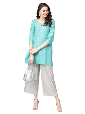 Blue Chanderi Cotton Solid Kutra