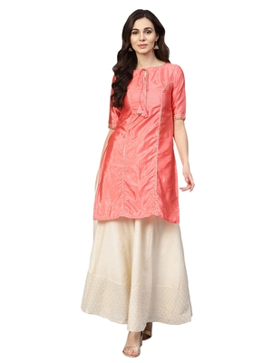 Pink Art Silk Solid Kurta