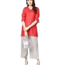 Red Art Silk Solid Kuta