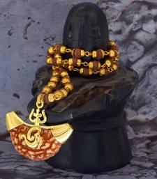 Ek Mukhi Rudraksh Religious Jewellery Lord Shiva Trishul Om Pendant  With Five Mukhi Rudraksha chain