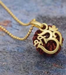 Lord Shiva Designer Pendant For Unisex Gold Plated Om Shri Rudraksha Pendant With Chain