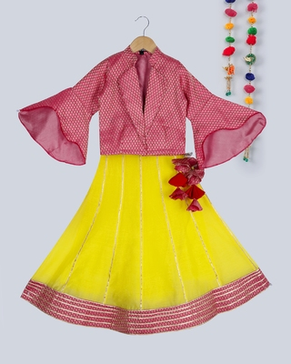 pink brocade choli with flared sleeves with stylish yellow lehnga with gota work