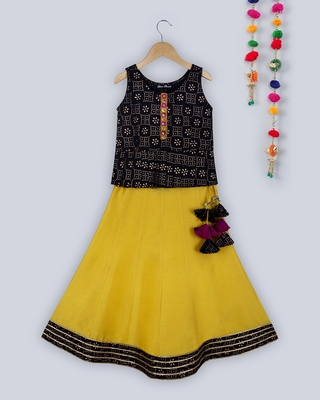 black khadi print peplum choli with contrast yellow lehnga