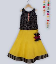 black khadi print peplum choli with contrast yellow lehnga