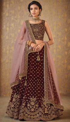 Wedding Designer Maroon Mulberry Designer Lahengha