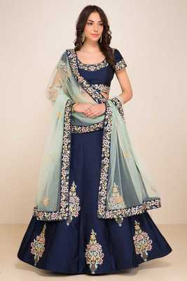 Wedding Embroidery Navy Blue Tafeta Designer Lehenga