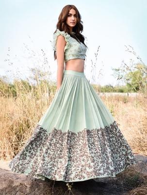 Wedding  Designer Light Cyan  Malai Satin Bridal Lahenga