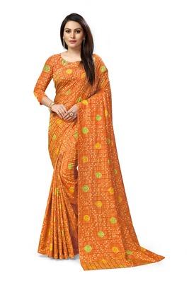 Mustard printed art silk sarees saree with blouse