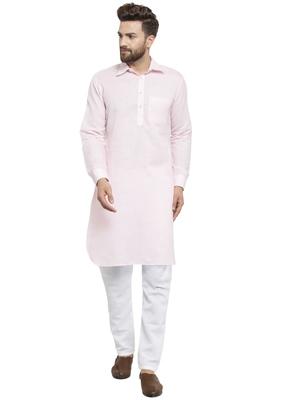 Pink Plain Linen Pathani Suits