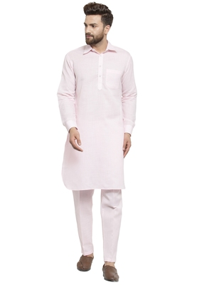 Designer Pink Pathani Linen Kurta With Pants For A Royal Look By Treemoda