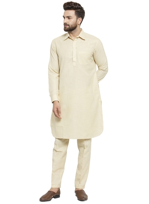 Beige Plain Linen Pathani Suits