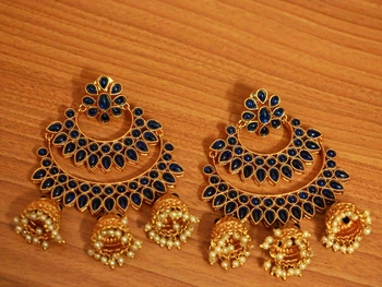 Blue Onyx Chandbali