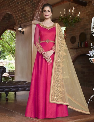 Pink embroidered banarasi silk salwar