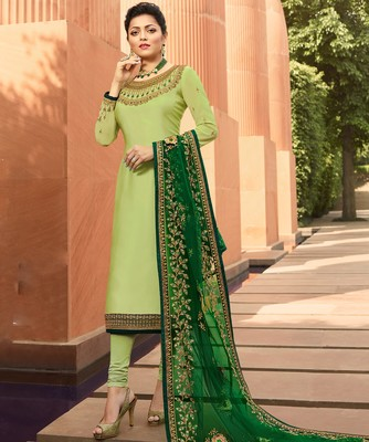 Lime embroidered georgette salwar