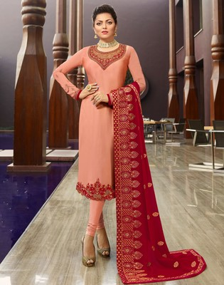 Baby-pink embroidered georgette salwar