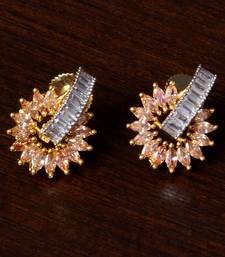 Champagne Stone and American Diamond Embellished Gold Plated Stud Earrings 216ED213