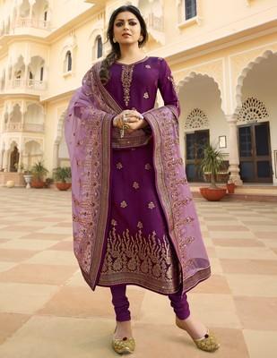 Purple embroidered jacquard salwar