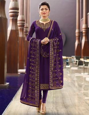 Dark-purple embroidered georgette salwar