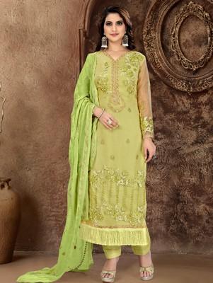 Green embroidered organza salwar
