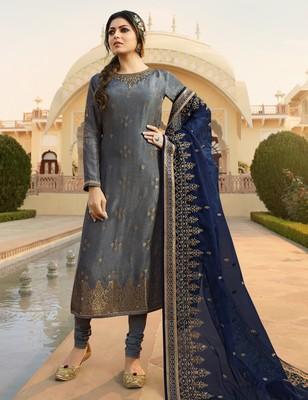 Grey embroidered jacquard salwar