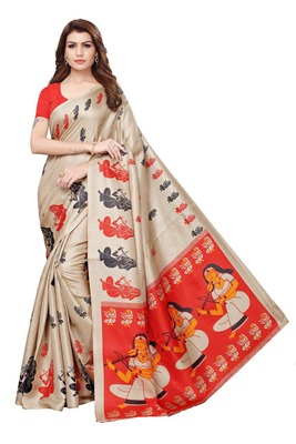 Ivory printed art silk sarees saree with blouse