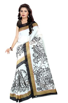 White printed art silk sarees saree with blouse