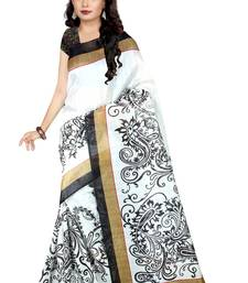 White printed art silk sarees saree with blouse