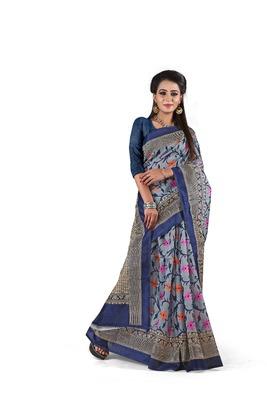 Dark multicolor printed art silk sarees saree with blouse