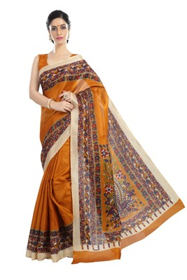Light yellow printed art silk sarees saree with blouse