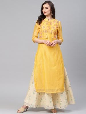 Yellow embroidered chanderi ethnic-kurtis