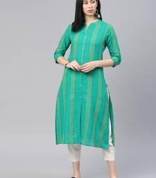 Green checked cotton ethnic-kurtis