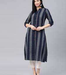 Navy-blue checked cotton ethnic-kurtis