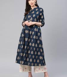 Navy-blue printed cotton ethnic-kurtis