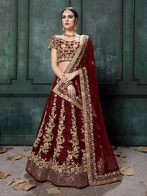 Elegant Maroon Fine Embroidered Women'S Semi Stitched Designer Lehenga Choli For Wedding