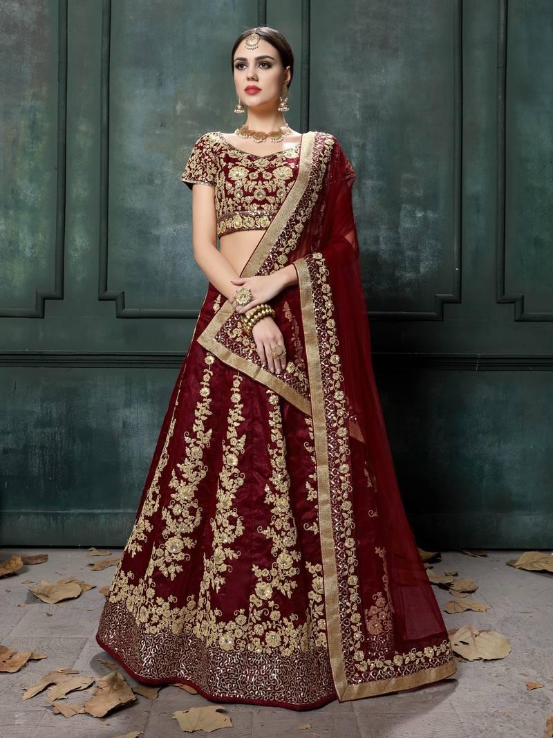 Wedding party wear Indian Designer Maroon Lehenga choli dupatta for girls and women custom stitched lehenga blouse Heavy embroiderey Lehenga