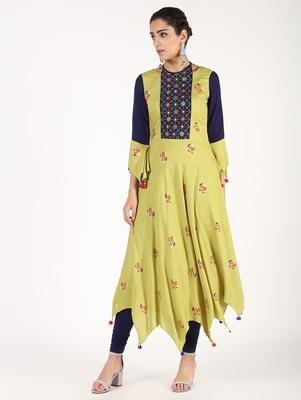 Light-green embroidered rayon embroidered-kurtis