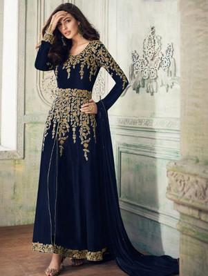 Royal Blue Faux Georgette Designer Anarkali Suit