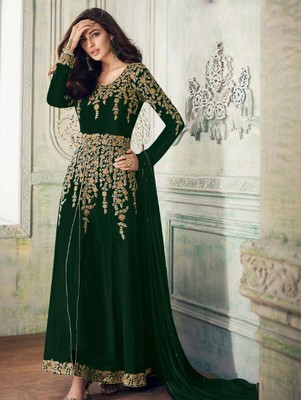Green Faux Georgette Designer Anarkali Suit