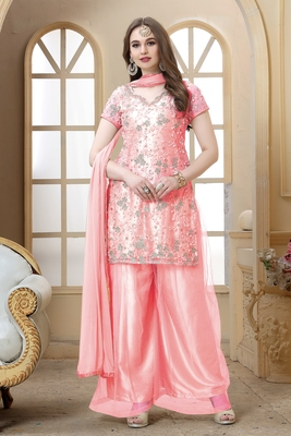 Pink embroidered net kameez  with dupatta