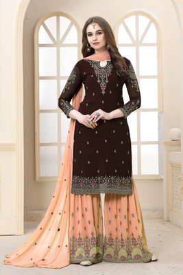 Chocolate embroidered faux georgette Sharara Suit
