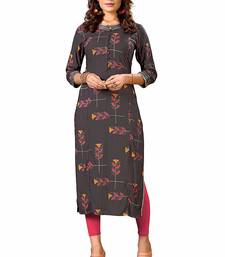 GREY PRRINTTED RAYON PARTY WEAR KURTIS