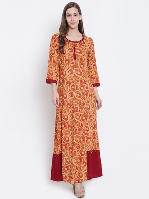 Orange printed liva kurtas-and-kurtis