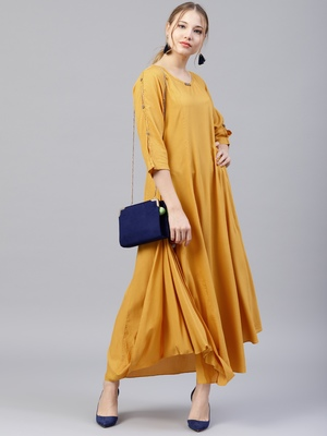 Mustard plain liva kurtas-and-kurtis