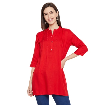 Rayon red embellished tunic