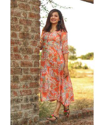 Orange Tropical Button Down dress