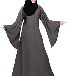 Dark-grey plain nida abaya