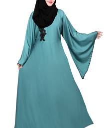 Dark-turquoise plain nida abaya