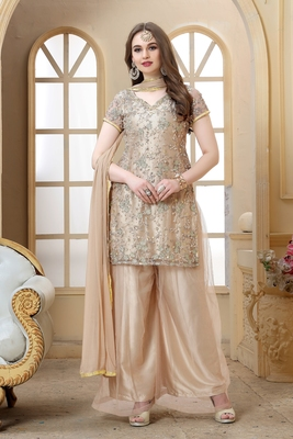 Rosybrown Color  Embroidered Moti Work Net  Sharara suit