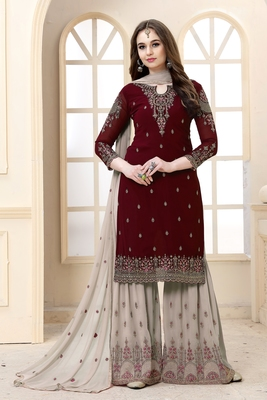 Maroon embroidered faux Georgette semi-stitched sharara suit