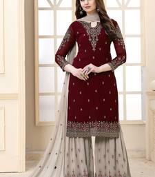 Maroon Embroidered Faux Georgette Semi Stitched Sharara Suit
